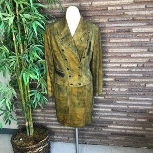 Vintage German Designer Suede Military Suit